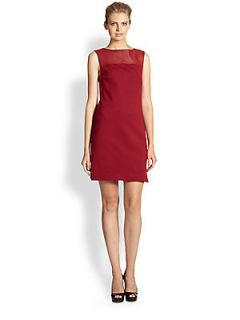 Trina Turk Ponte Knit & Leather Dress   Oxblood