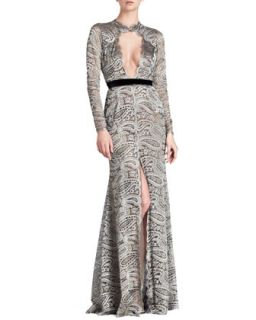 Womens Paisley Lace Gown with Front Keyhole   Naeem Khan