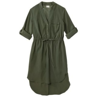 Merona Womens Drawstring Shirt Dress   Moss   XL