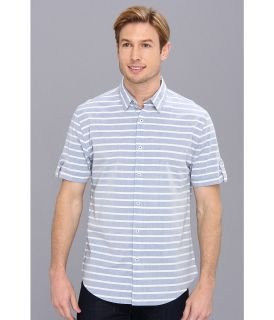 DKNY Jeans S/S Horizontal Stripe Slim Fit Shirt City Press Mens Short Sleeve Button Up (Blue)