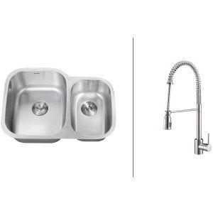 Ruvati RVC2546 Combo Stainless Steel Kitchen Sink and Chrome Faucet Set