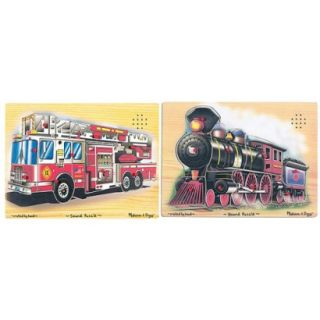 Melissa& Doug Train and Fire Truck Sound Puzzles