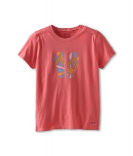 Life is good Kids Girls Crusher Tee Sunshine Flip Flop Girls T Shirt (Khaki)