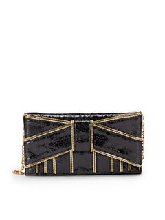 Crackled Leather Zipper Trimmed Bow Clutch   Black