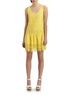 Lace Drop Waist Dress   Pale Maize