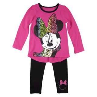 Disney Infant Toddler Girls Minnie Mouse Top and Bottom Set   Fuchsia 2T