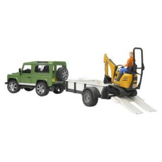 Bruder Land Rover Defender with Trailer, JCB Micro Excavator and Worker