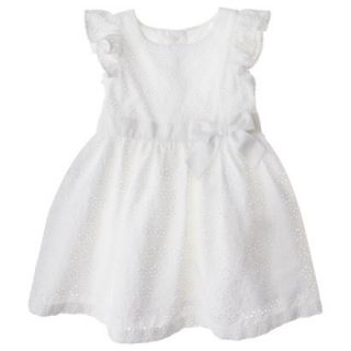 Cherokee Infant Toddler Girls Eyelet Flutter Sleeve Dress   White 4T