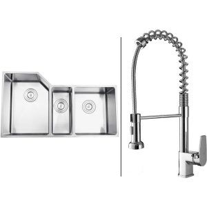 Ruvati RVC1581 Combo Stainless Steel Kitchen Sink and Chrome Faucet Set