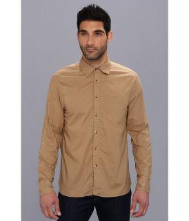 Denim & Leathers by Andrew Marc Solid Single Pocket Shirt Mens Clothing (Khaki)