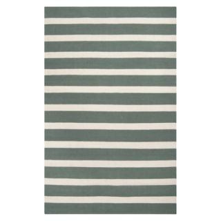 Stripe Flat Weave Area Rug   Green (8x11)