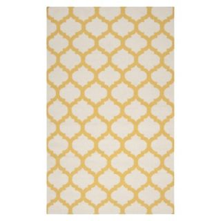 Fretwork Flat Weave Area Rug   Gold (8x11)