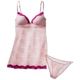 Gilligan & OMalley Womens Stretch Lace Baby Doll Set with Panty   Pink L