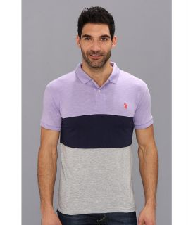 U.S. Polo Assn Wide Stripe Slub Polo Mens Short Sleeve Knit (Purple)