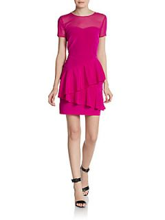 Short Sleeve Sweetheart Illusion Dress   Hot Pink