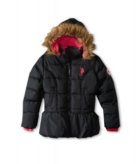 U.S. Polo Assn Kids Bubble Jacket with Faux Fur Trimmed Hood and Cinched Waist Girls Coat (Black)