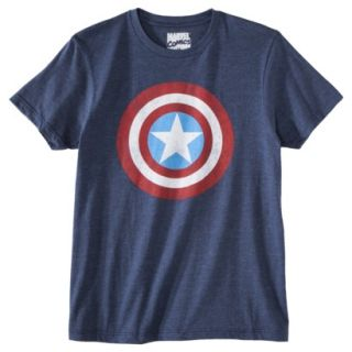 Captain America Shield Mens Graphic Tee   Academy Blue XL
