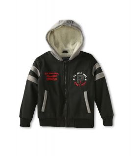 U.S. Polo Assn Kids Varsity Jacket with Attached Sherpa Lined Fleece Hood Boys Coat (Black)