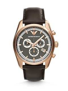 Emporio Armani Leather Chronograph Watch   Rose Gold