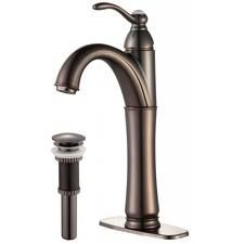 Kraus FVS1005PU10ORB Bathroom Faucet, Riviera Single Lever Vessel Faucet w/ Matching Pop Up Drain Oil Rubbed Bronze