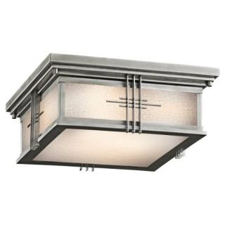 Kichler 49164SS Outdoor Light, Arts and Crafts/Mission Flush Mount 2 Light Fixture Stainless Steel