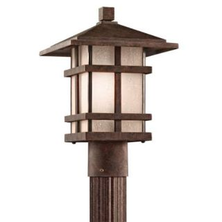 Kichler 9527AGZ Outdoor Light, Arts and Crafts/Mission Post Mount 1 Light Fixture Aged Bronze