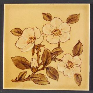 Franciscan Cafe Royal Tea Tile, Fine China Dinnerware   Embossed Flowers,Brown L