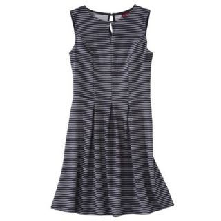 Merona Womens Textured Sleeveless Keyhole Neck Dress   Navy/White   L