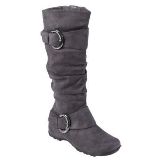 Womens Bamboo By Journee Slouchy Buckle Boots   Grey 9.5W