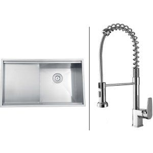 Ruvati RVC1361 Combo Stainless Steel Kitchen Sink and Chrome Faucet Set
