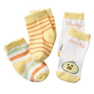 Luvable Friends Newborn 3 Pack Striped/Animal Face Socks   Yellow 0 6M