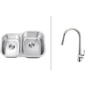 Ruvati RVC2512 Combo Stainless Steel Kitchen Sink and Chrome Faucet Set