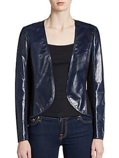 Cropped Leather Jacket   Light Navy