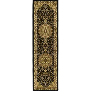 Lyndhurst Collection Black/ Ivory Runner Rug (23 X 8)