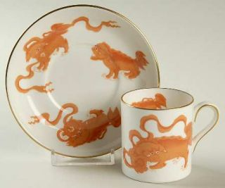 Wedgwood Chinese Tigers Red Bond Shape Demitasse Cup and Saucer Set, Fine China
