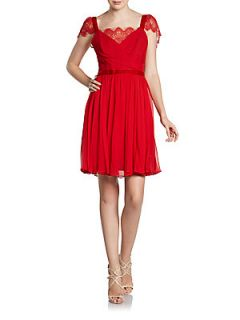 Lace Cap Sleeve Cocktail Dress   Red