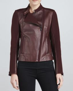 Womens Emmy Leather Mixed Media Moto Jacket   Andrew Marc