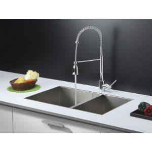 Ruvati RVC2346 Combo Stainless Steel Kitchen Sink and Chrome Faucet Set
