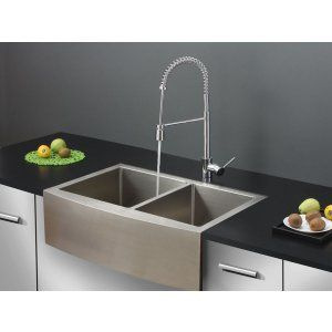Ruvati RVC2441 Combo Stainless Steel Kitchen Sink and Chrome Faucet Set