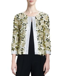 Womens Couture Hand Beade Sequin Jacket, Gold   St. John Collection