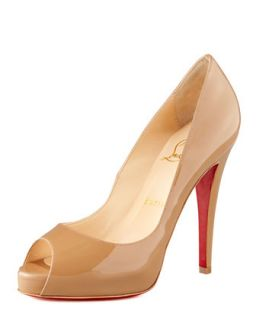 Very Prive Patent Open Toe Platform Pump   Christian Louboutin