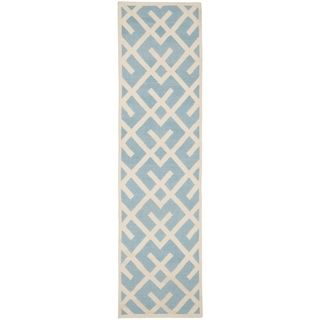 Safavieh Hand woven Moroccan Dhurrie Light Blue Wool Rug (26 X 8)