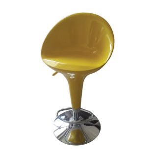 Sybill Adjustable Yellow Chrome Finish Air Lift Stool (set Of 2) (Yellow Materials ABS seat and back, metalFinish Chrome Adjustable air lift stoolDimensions 34 inches high x 18.5 inches wide x 20 inches deep )