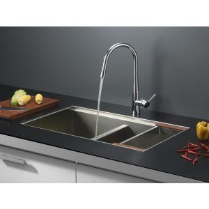 Ruvati RVC2382 Combo Stainless Steel Kitchen Sink and Chrome Faucet Set