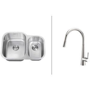 Ruvati RVC2502 Combo Stainless Steel Kitchen Sink and Chrome Faucet Set