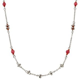 Womens Long Beaded Chain Necklace   Pink/Silver (35)
