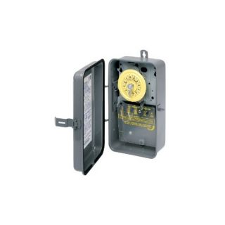 Intermatic T104R Timer, 208277V DPST 24Hour Mechanical Time Switch w/ NEMA 3R Metal Case