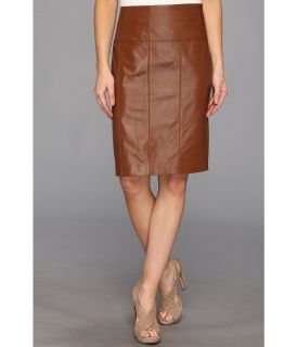 Vince Camuto Leather Pencil Skirt Womens Skirt (Brown)