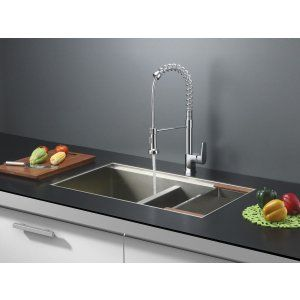 Ruvati RVC1381 Combo Stainless Steel Kitchen Sink and Chrome Faucet Set