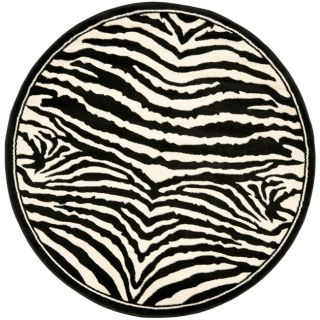 Lyndhurst Collection Zebra Black/ White Rug (7 Round)